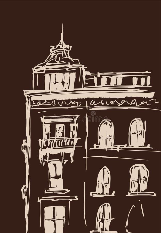 Atramentu nakreślenie budynki Wręcza patroszoną wektorową ilustrację domy w Europejskim Starym miasteczku Podróży grafika Beżowy  ilustracji