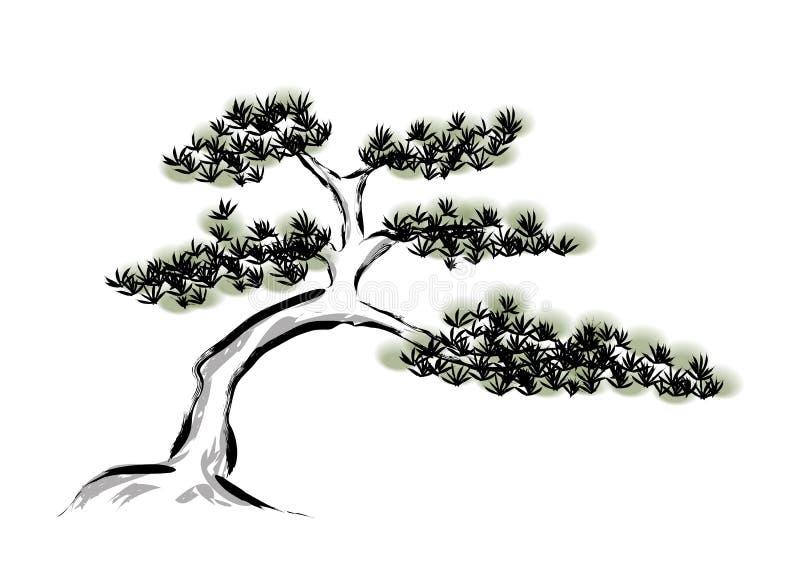 Atramentu obrazu sosna ilustracji