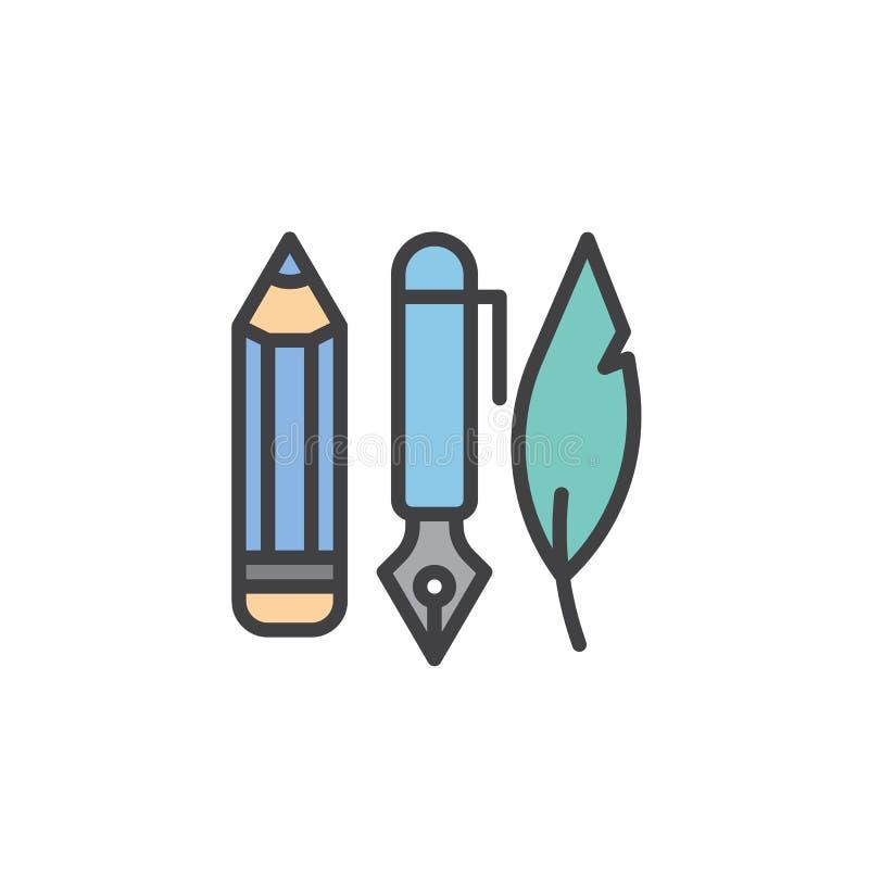 Atramentu pióro, ołówek i piórko wypełniający, zarysowywamy ikonę ilustracji