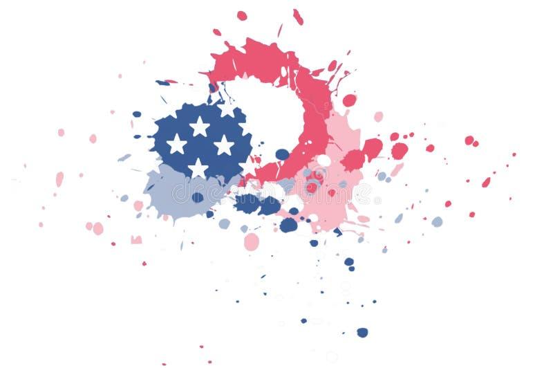 Atramentu pluśnięcia usa flaga ilustracji