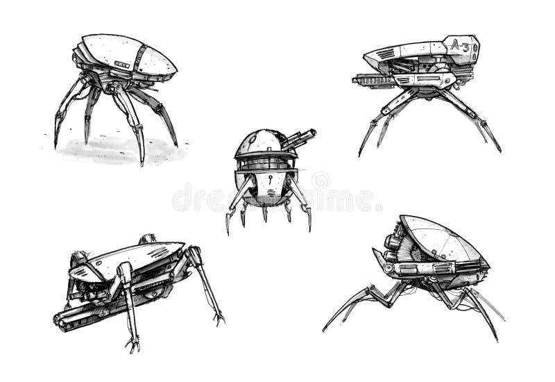 Atramentu pojęcia sztuki rysunek set Futurystyczny fantastyka naukowa Zbroił Militarnych Chodzących Mechanicznych trutni royalty ilustracja