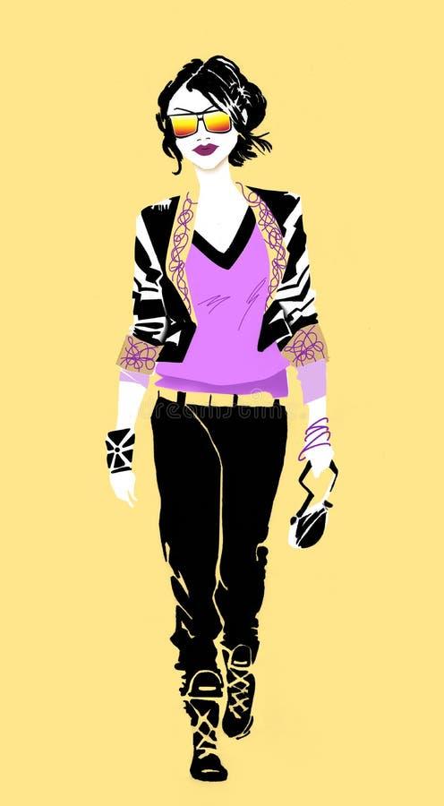 Atramentu remis mody dziewczyny miastowy styl Minimalistyczny ?lad ilustracja wektor