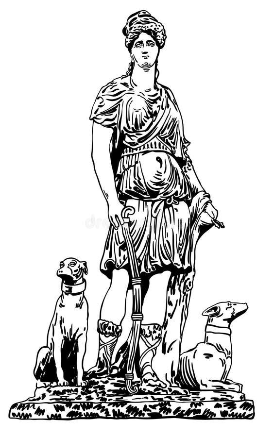 Atramentu rysunek stara dziejowa statua Lviv ( ilustracja wektor
