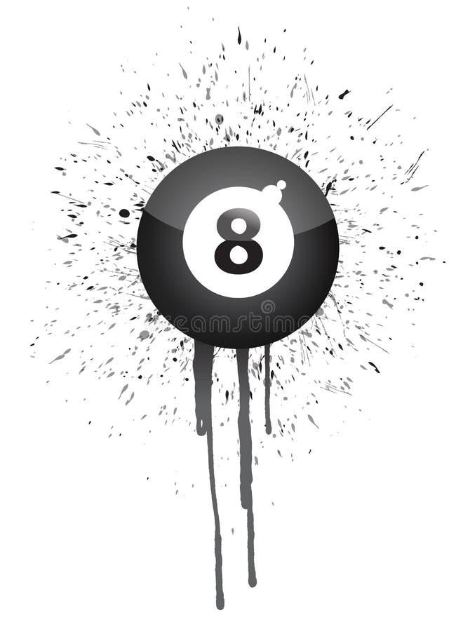 Atramentu splatter osiem piłka ilustracji