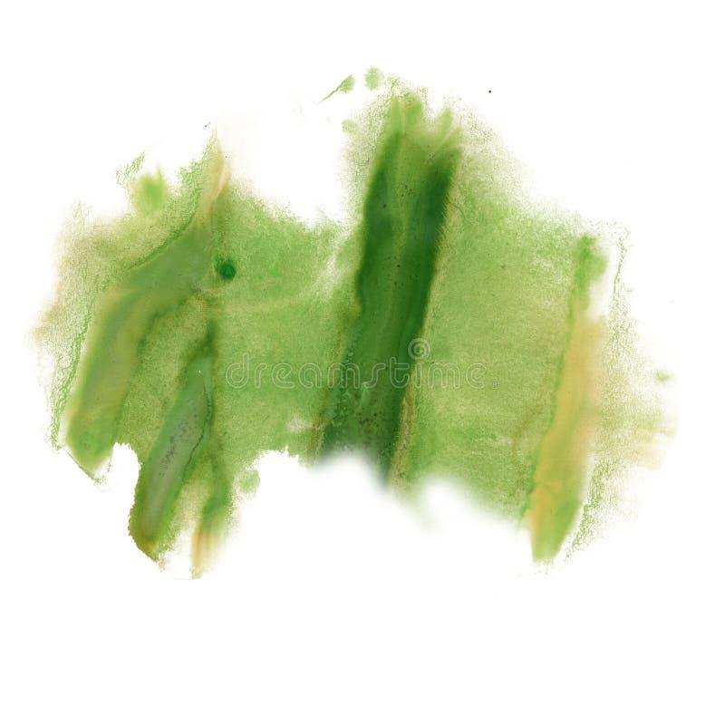 Atramentu splatter watercolour zieleni barwidła ciekłej akwareli punktu blotch makro- tekstura odizolowywająca na białym tle zdjęcia royalty free