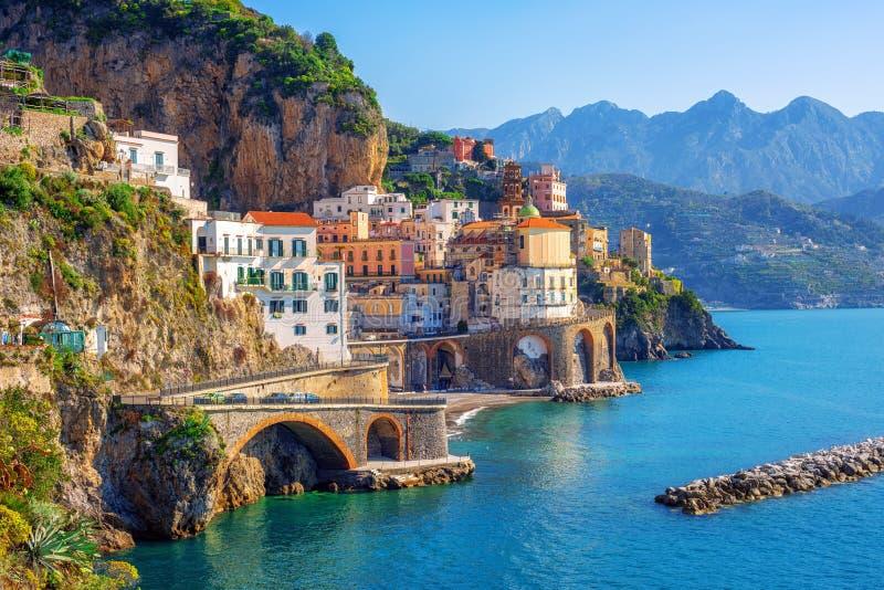 Atrani town on Amalfi coast, Sorrento, Italy stock photo