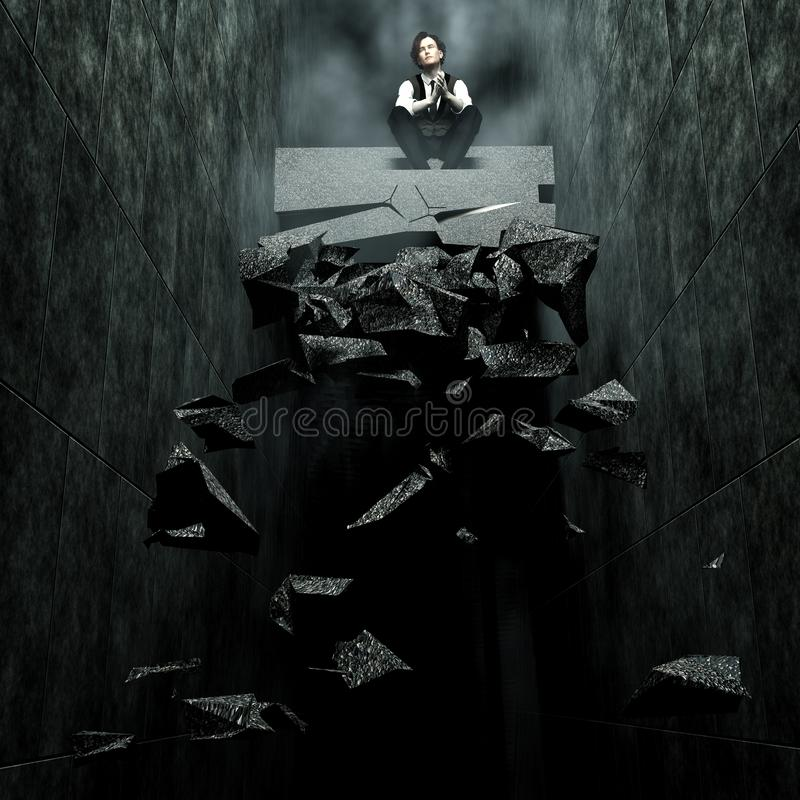 Atrapado en la oscuridad stock de ilustración