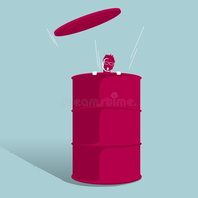 Atraparon al hombre de negocios en el barril de aceite ilustración del vector