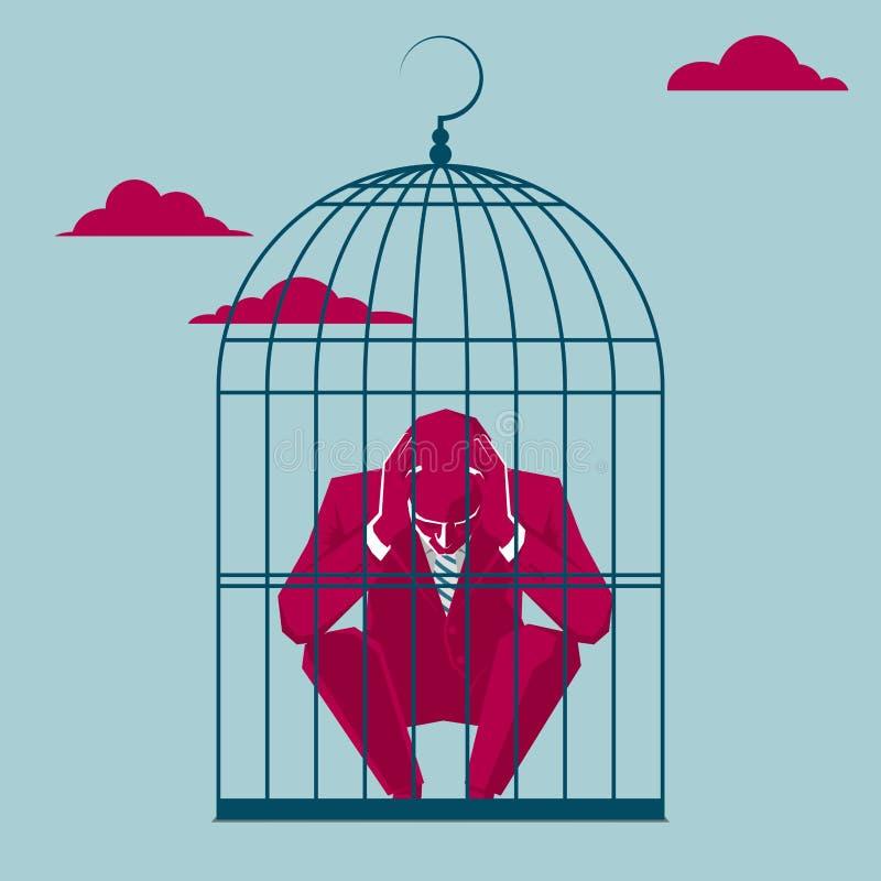 Atraparon al hombre de negocios en una jaula de pájaros stock de ilustración
