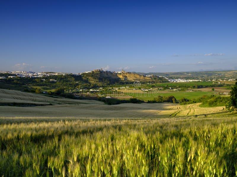 Através da opinião dos campos de Andalucian da cidade branca em Arcos de la Frontera, Espanha fotos de stock royalty free