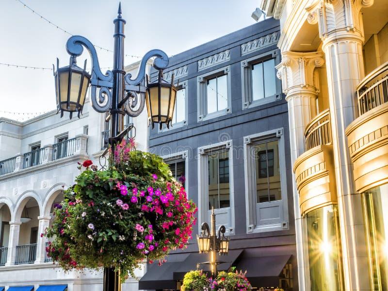 Através do rodeio, das luzes de rua e das flores - movimentação do rodeio - Los Angeles, LA, Califórnia, CA foto de stock royalty free
