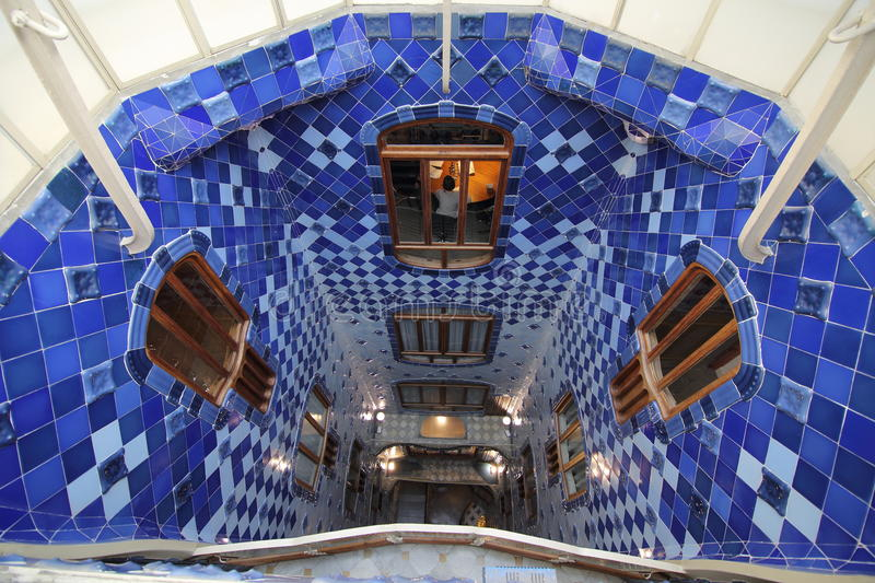 Central light well of Casa Batllo stock images