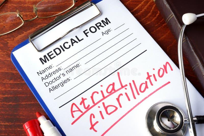 Atrial fibrillation AFib. Medical form with words Atrial fibrillation AFib royalty free stock image