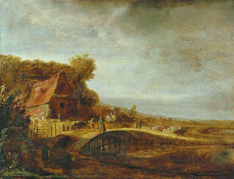 Atribuído a Govert Flinck - paisagem com uma exploração agrícola e uma ponte, 1640 foto de stock