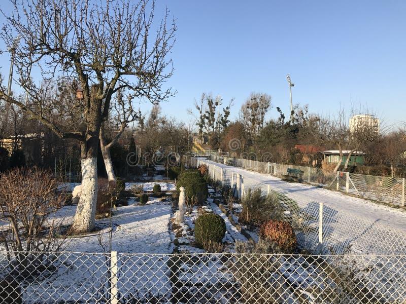 Atribuições no inverno nevado imagens de stock