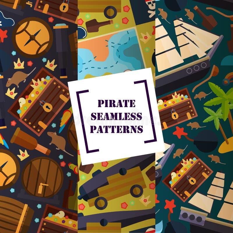 Atributo pirata patrón transparente, ilustración vectorial. Icono de deportes de culturas de antorcha ilustración del vector