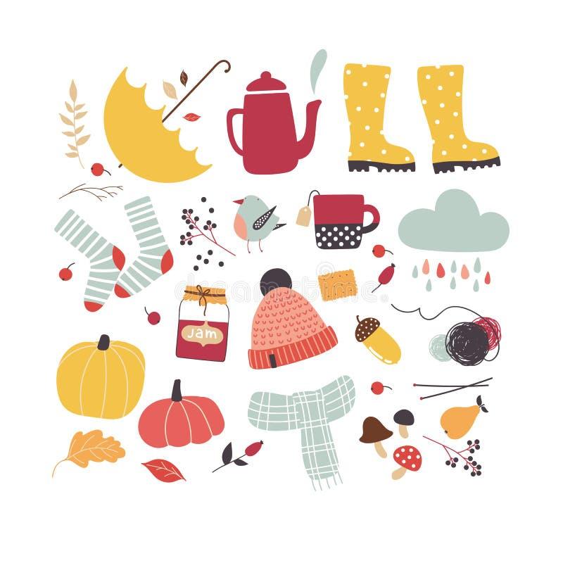 Atributos bonitos do outono do vetor Modo do outono ilustração royalty free