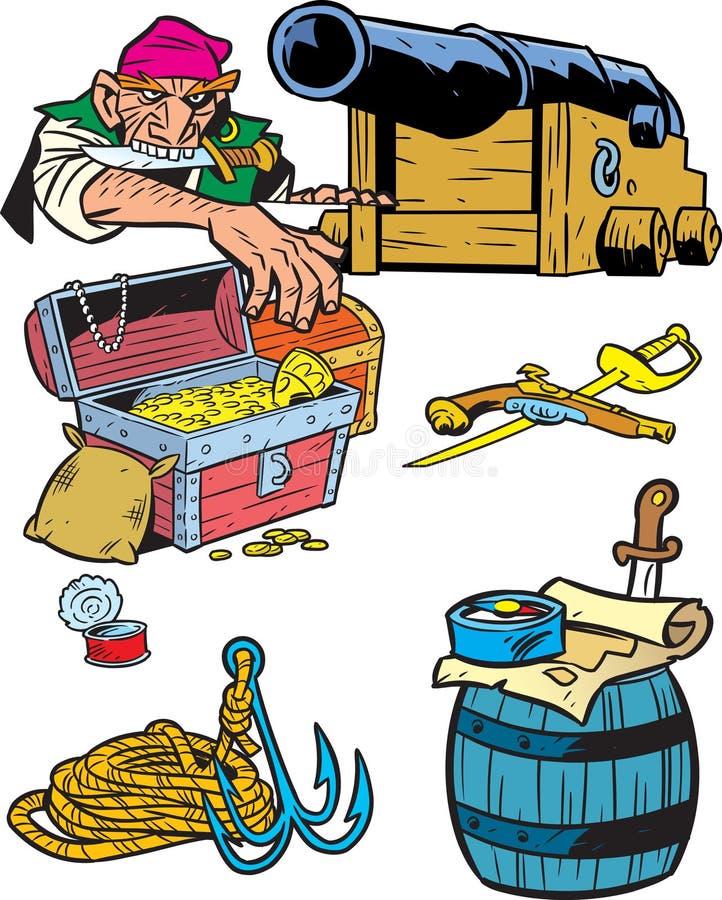 Atributos de piratas stock de ilustración