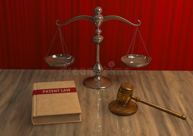 Atributos legales: mazo, escala y libro de ley ilustración del vector