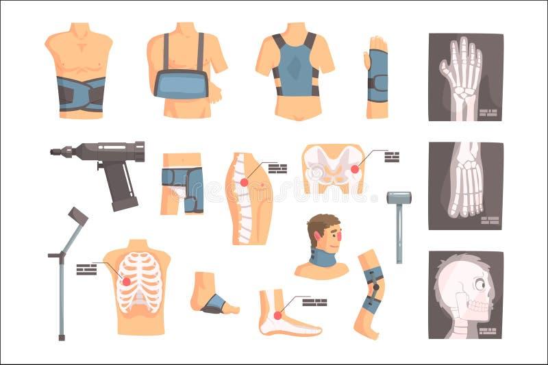 Atributos ortop?dicos da cirurgia e da ortopedia e grupo de ferramentas de ?cones dos desenhos animados com as ataduras, os raios ilustração royalty free