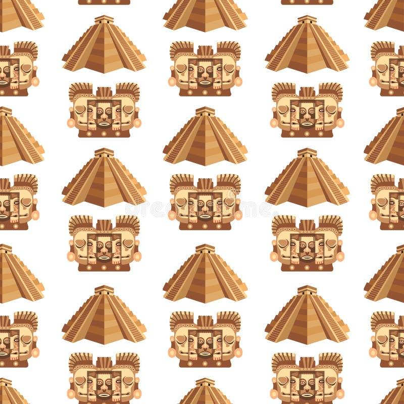 Atributos tradicionais do Maya e teste padrão sem emenda das relíquias impagáveis antigas ilustração do vetor