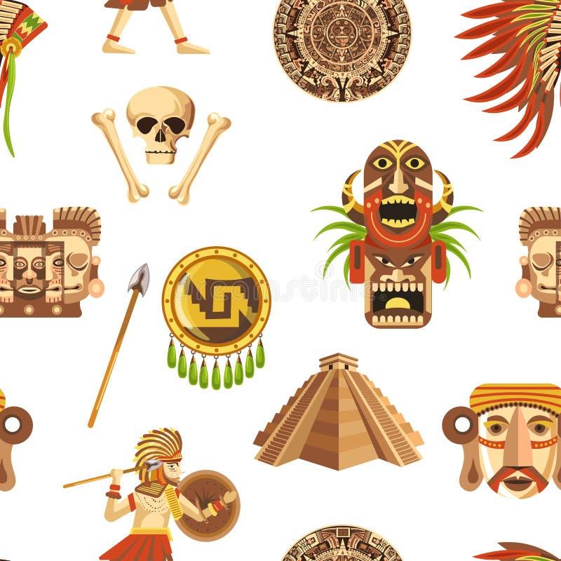 Atributos tradicionais do Maya e teste padrão sem emenda das relíquias impagáveis antigas ilustração royalty free