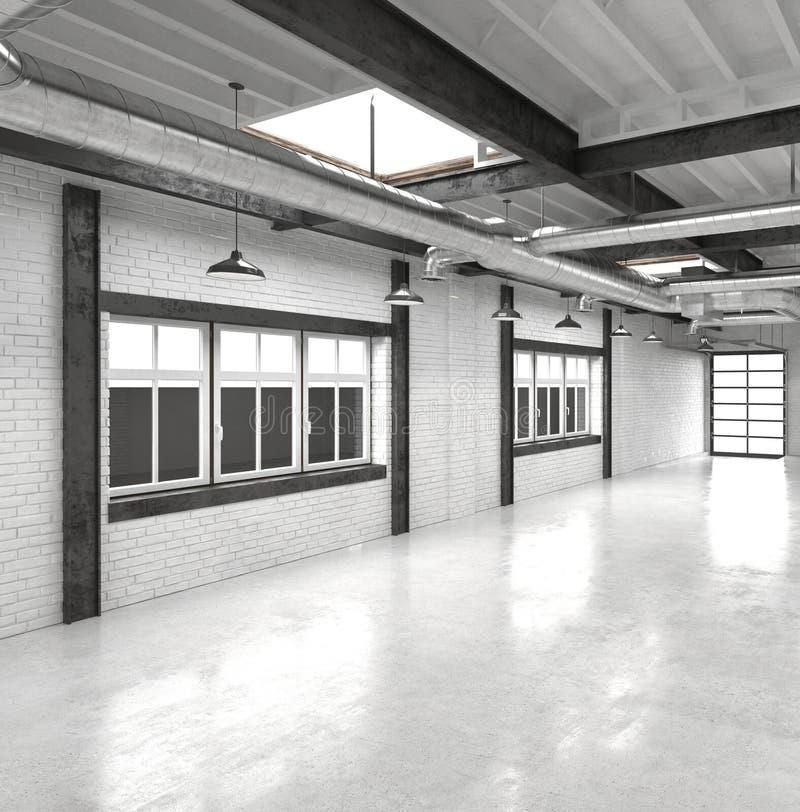 Atrio de la oficina o interior moderno del pasillo ilustración del vector
