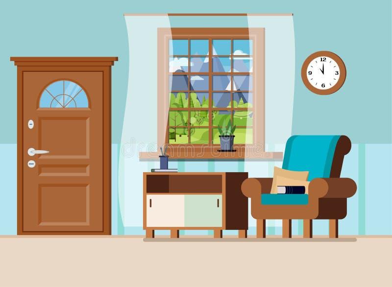 Atrio domestico accogliente con il fondo interno dell'illustrazione di vettore della mobilia illustrazione vettoriale