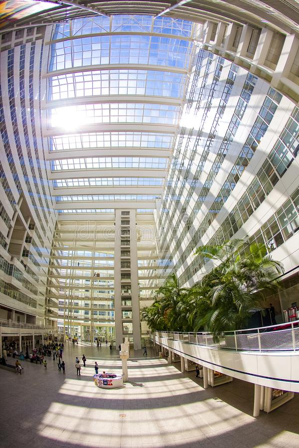Atrium of the city hall of the hague stock image