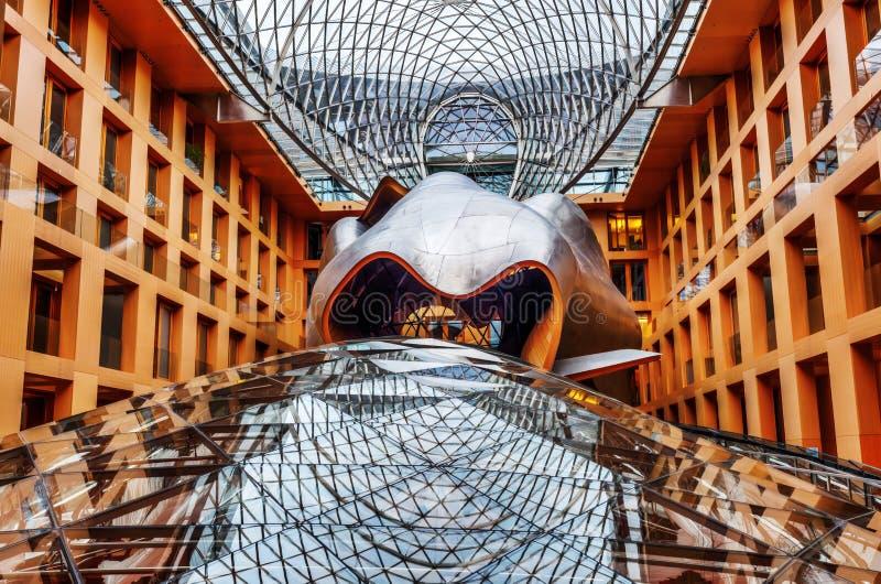 Atrium DZ Bank w Berlin, projektujący Frank Gehry obraz stock