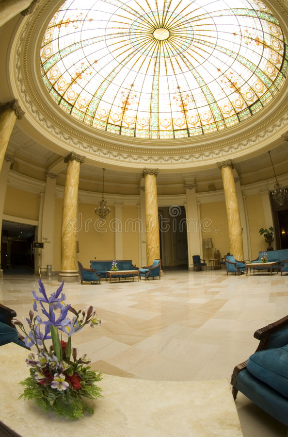 Atrium old hotel lobby with chairs lima peru royalty free stock image