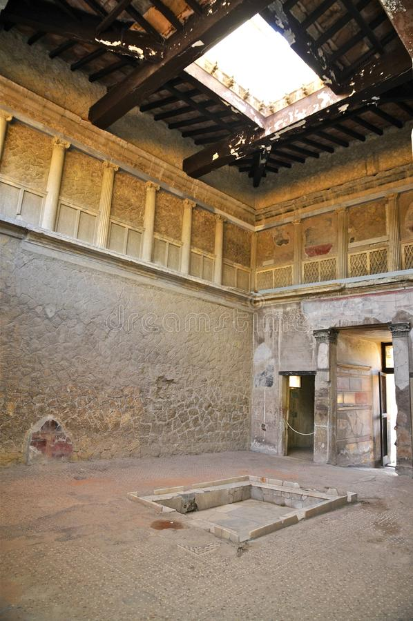 Atrium van de Villa van Publius Fannius Synistor, Herculaneum stock foto