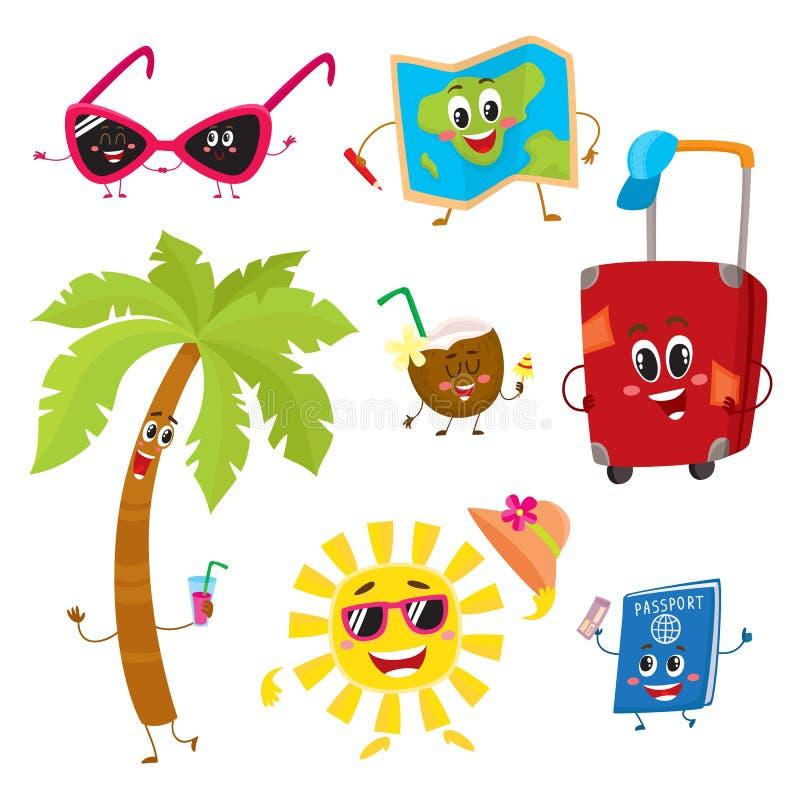 Atrybuty wakacje, podróż zwrotniki jako śmieszni charaktery royalty ilustracja