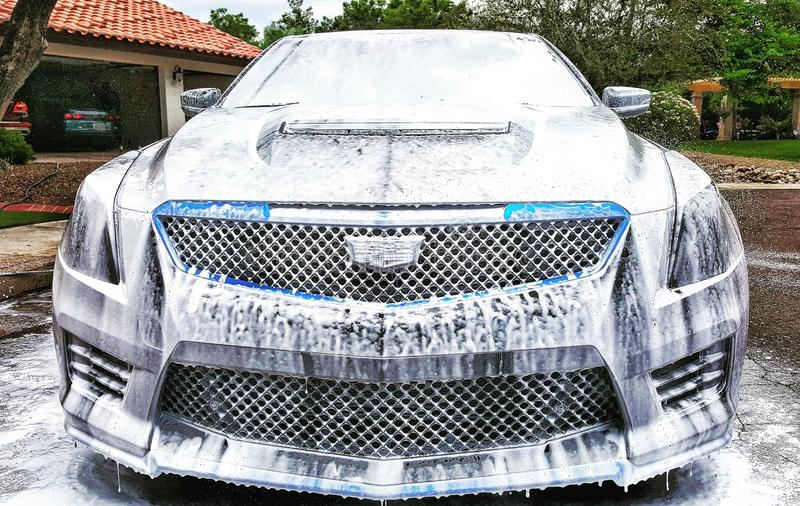 The Cadillac ATS-V wanted to get lathered up. The ATS-V looking like she& x27;s loving the bubble bath royalty free stock images