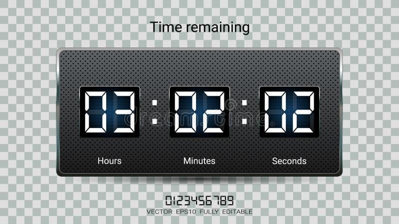 Att återstå för nedräkningtidmätare eller funktionskortet för klockaräknaren med timme, minuter och sekunder visar för webbsidan  royaltyfri illustrationer