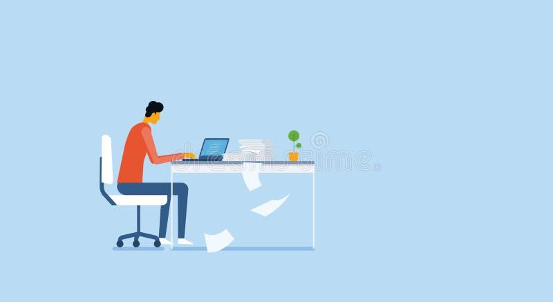 Att arbeta och projektet för affärsfolk analyserar forskningprocess royaltyfri illustrationer