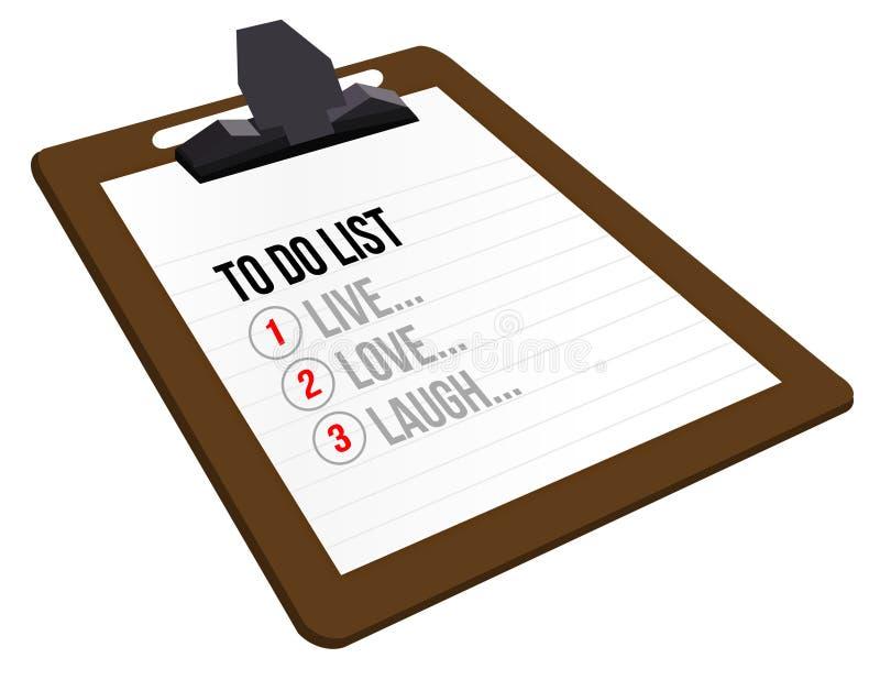 Att att göra listan för att bo, att älska, att skratta stock illustrationer