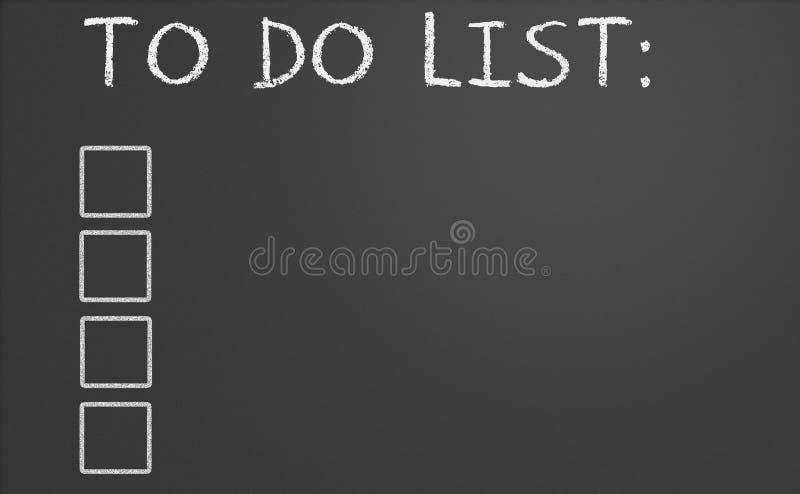 Att att göra listan på tavlan stock illustrationer