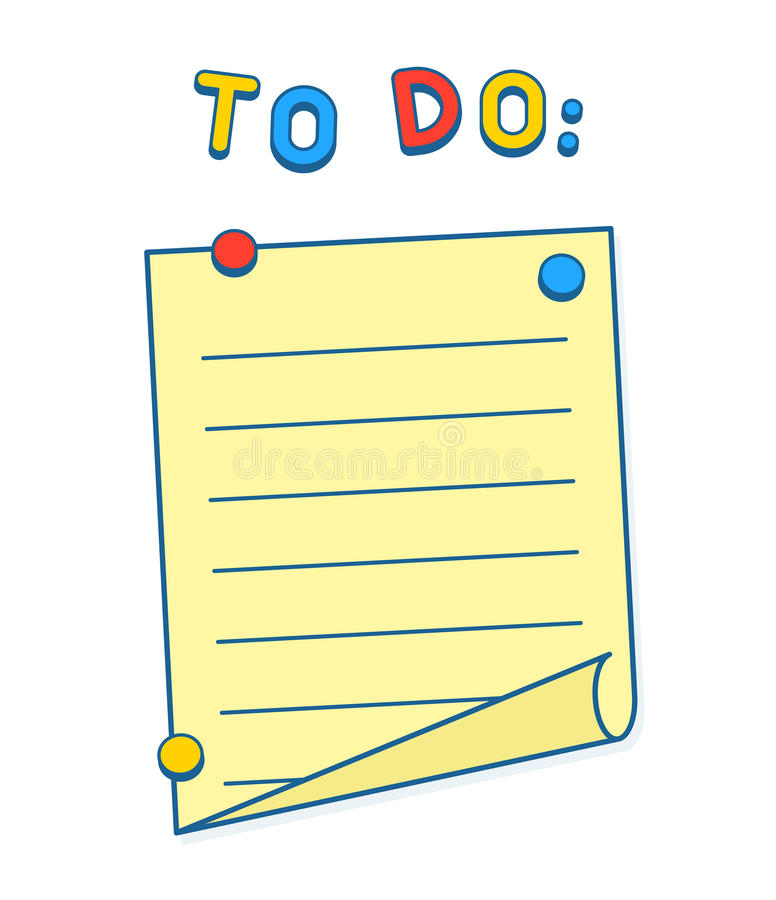 Att att göra listan på whiteboard eller kylen med magneter royaltyfri illustrationer