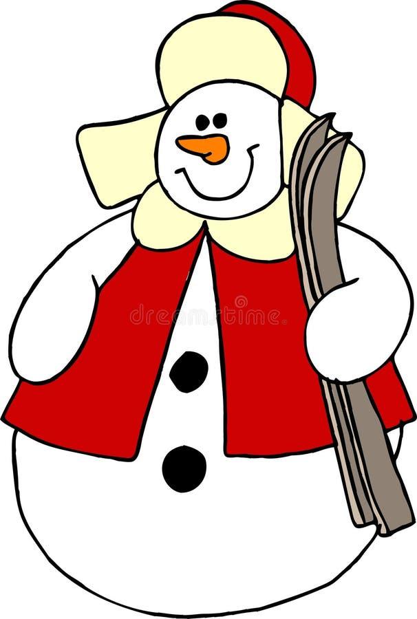 Download Att bära skidar snowmanen stock illustrationer. Bild av mitten - 42888
