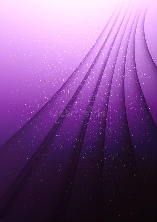Att böja skuggar på en purpurfärgad bakgrund med ljusa gnistor Elegant teme med damm royaltyfri illustrationer