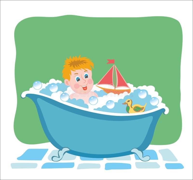 Att bada behandla som ett barn badar in med leksaker Bild för vektordiagram royaltyfri illustrationer