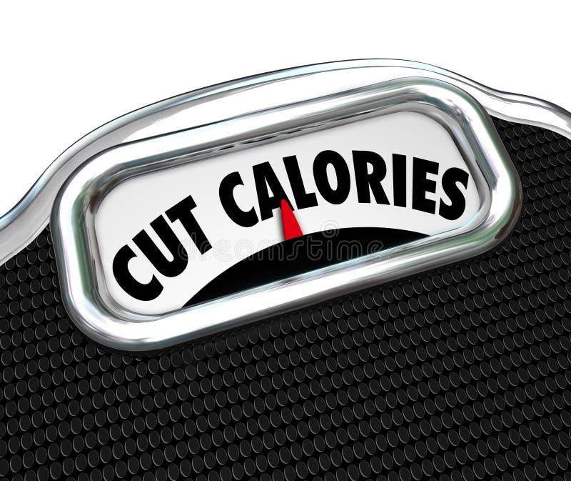 Att banta för ord för snittkaloriskala förlorar vikt som äter mindre vektor illustrationer
