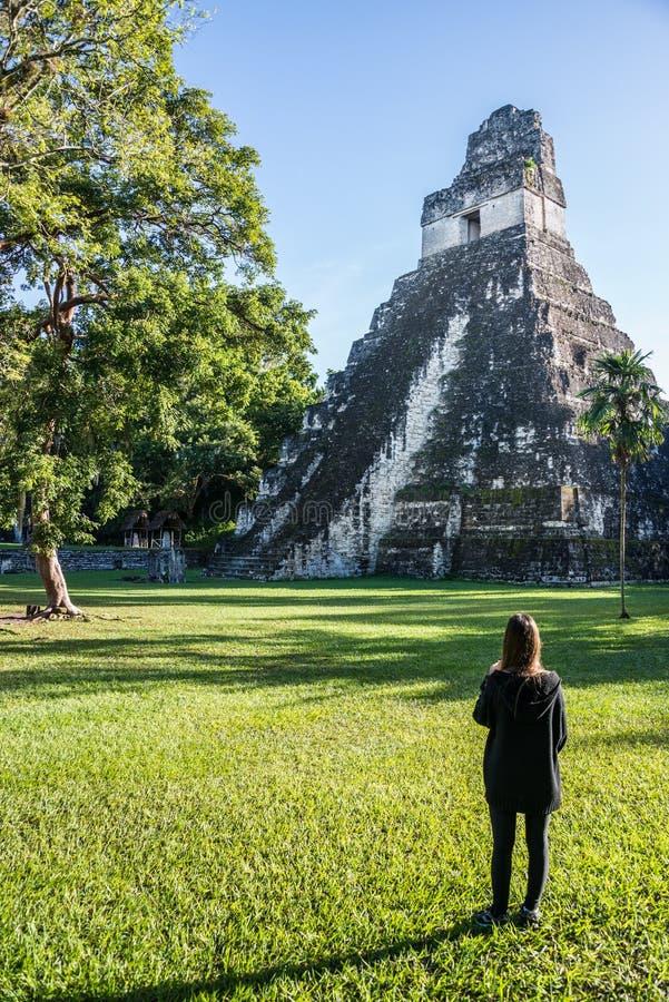 Att beskåda för ung flicka som är mayan, fördärvar på Tikal, nationalpark Tr arkivfoton