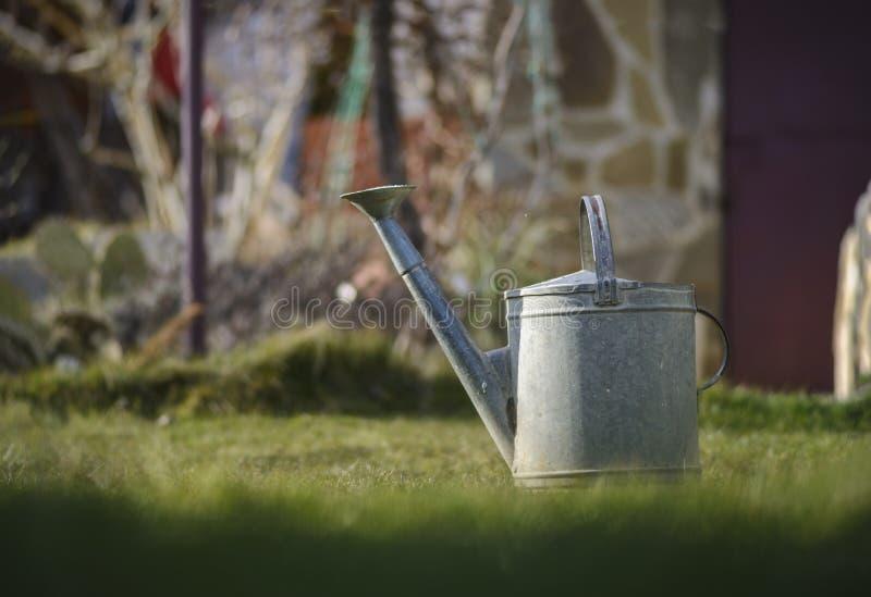 Att bevattna kan i en trädgård mot oskarp bakgrund fotografering för bildbyråer
