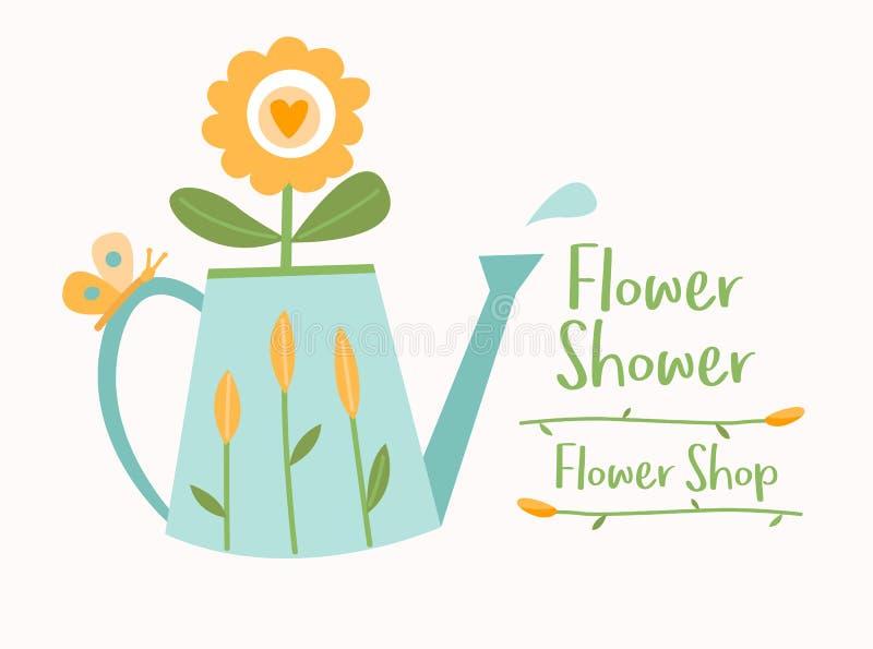 Att bevattna kan med blomma-, fjärils- och vattendroppe, mallen för blomsterhandellogotypvektorn, logodesign vektor illustrationer