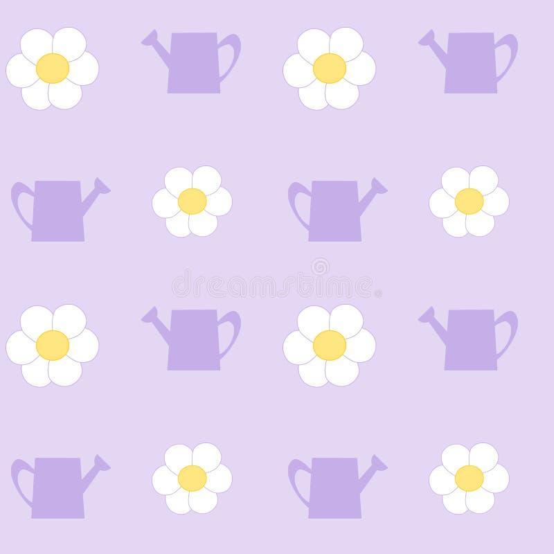 Att bevattna kan med modellen för blomman för den vita tusenskönan den sömlösa royaltyfri illustrationer