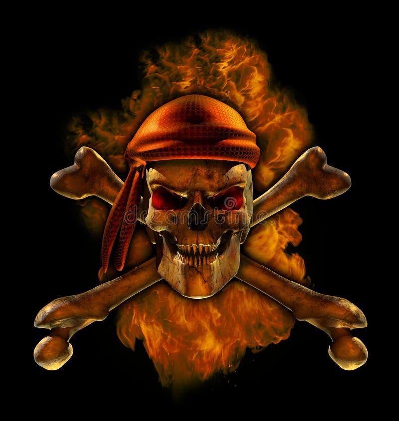 att bränna piratkopierar skallen royaltyfri illustrationer