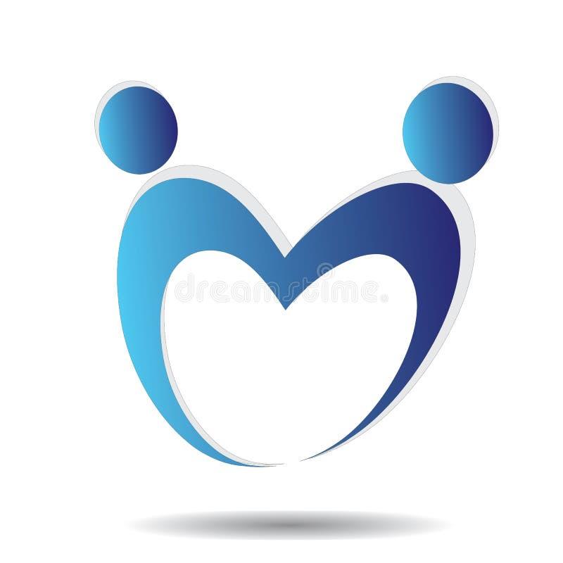 Att bry sig det vård- framgångfolket för förälskelse logo- och symbolmallen på vit bakgrund royaltyfri illustrationer