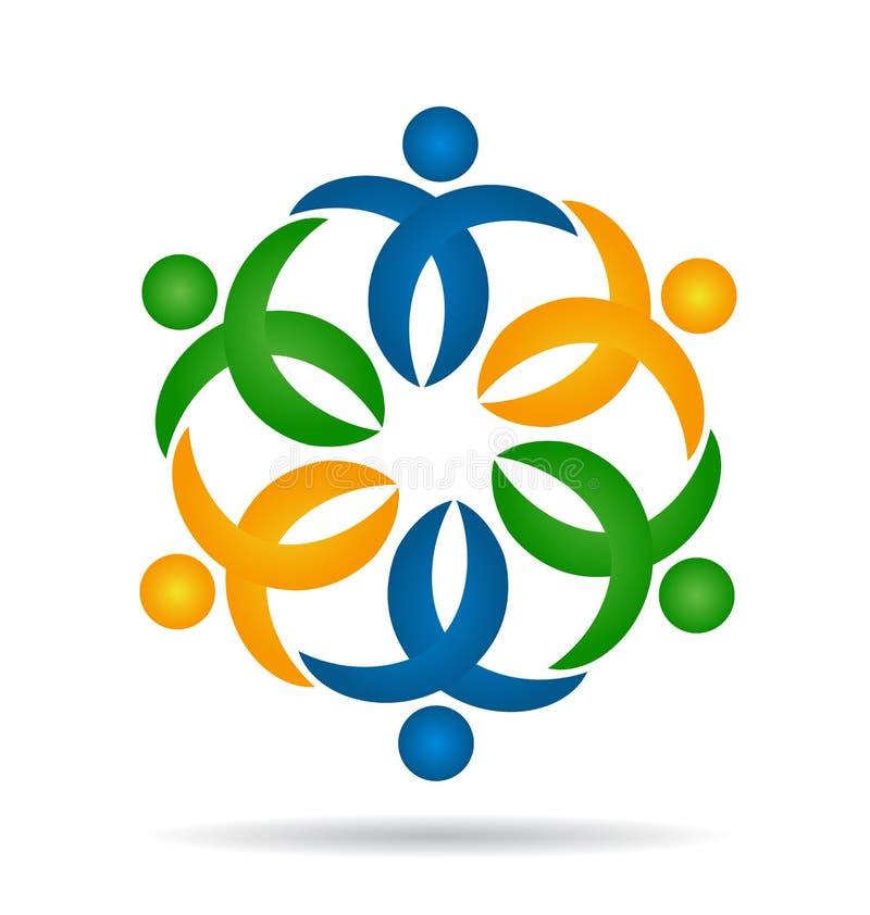 Att bry sig folkteamwork, vektor för blommaformsymbol royaltyfri illustrationer
